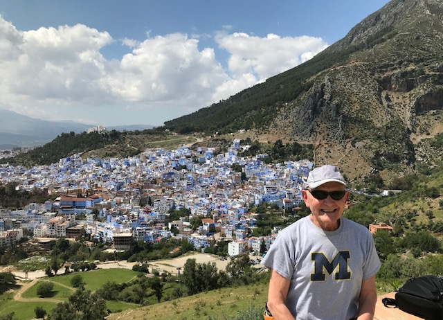 "In May, David J. Neuman, '70, visited the Chefchaouen, the ""Blue City,"" in Morocco."